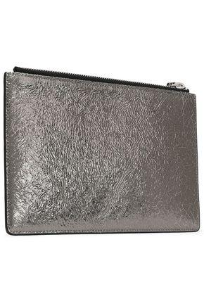 IRO Abotti metallic cracked-leather pouch