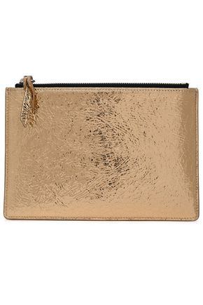 IRO Abotti metallic cracked-leather pouch