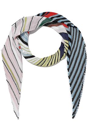 MISSONI Plissé striped crochet-knit scarf