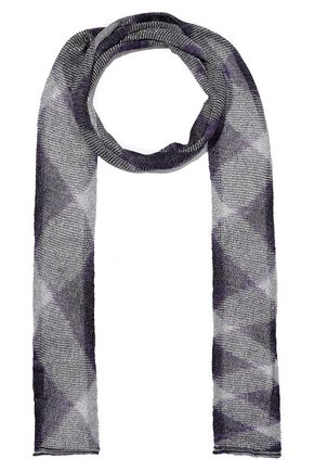 MISSONI Metallic checked crochet-knit scarf
