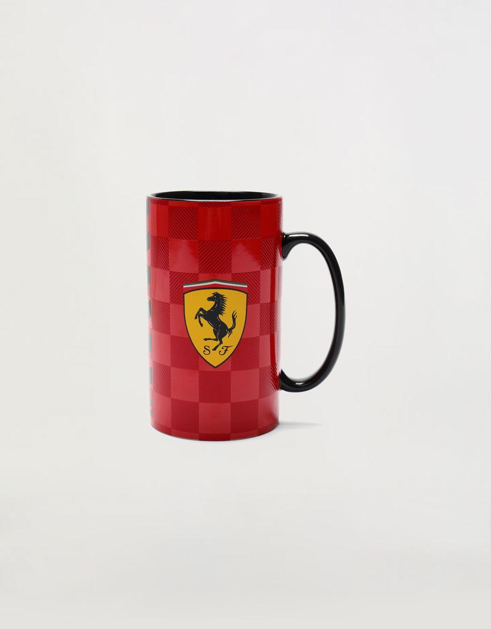 Scuderia Ferrari Online Store - Tall Scuderia Ferrari mug with chequered print - Mugs & Cups