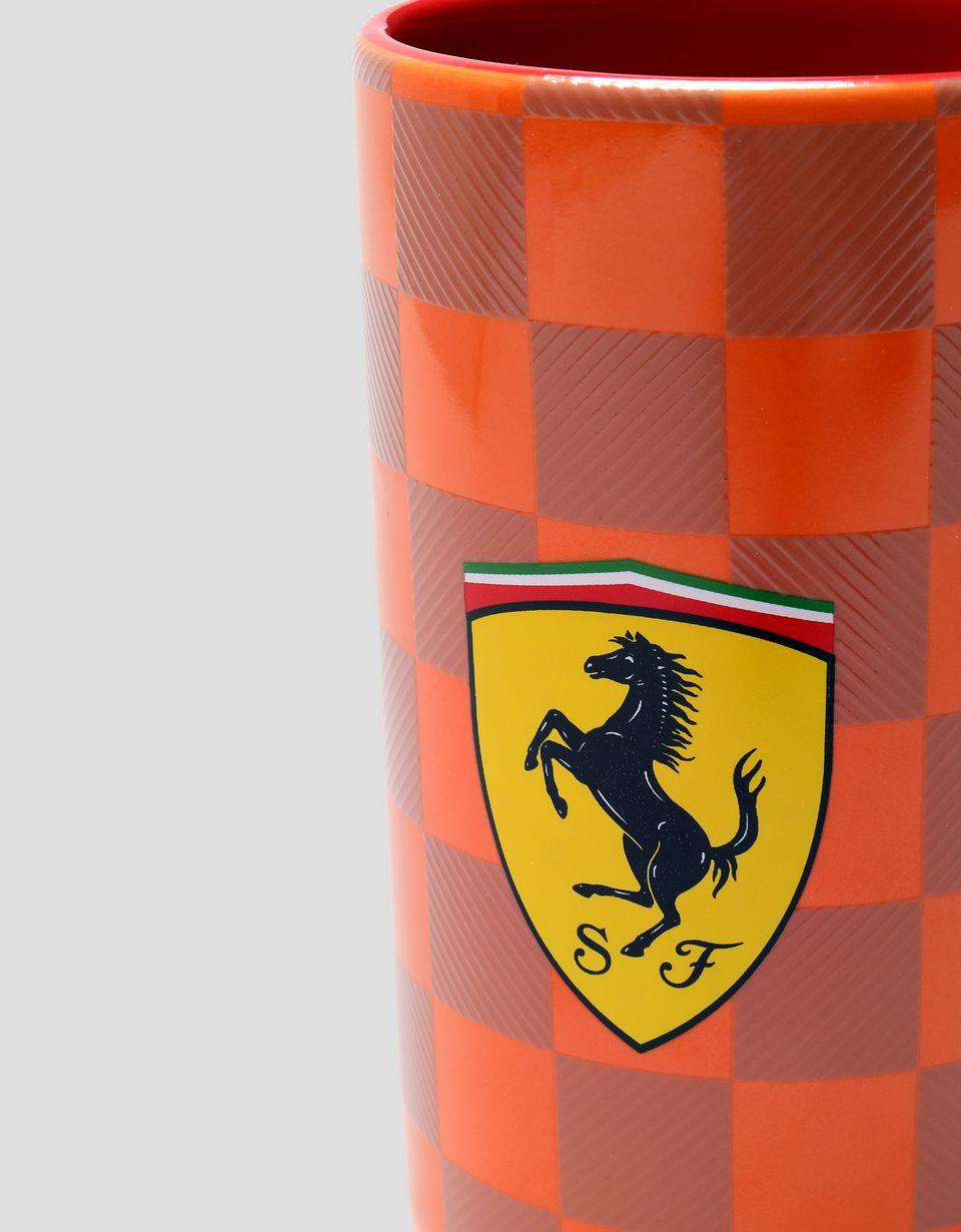 Scuderia Ferrari Online Store - Ceramic Scuderia Ferrari mug with 3D effect checker print - Mugs & Cups