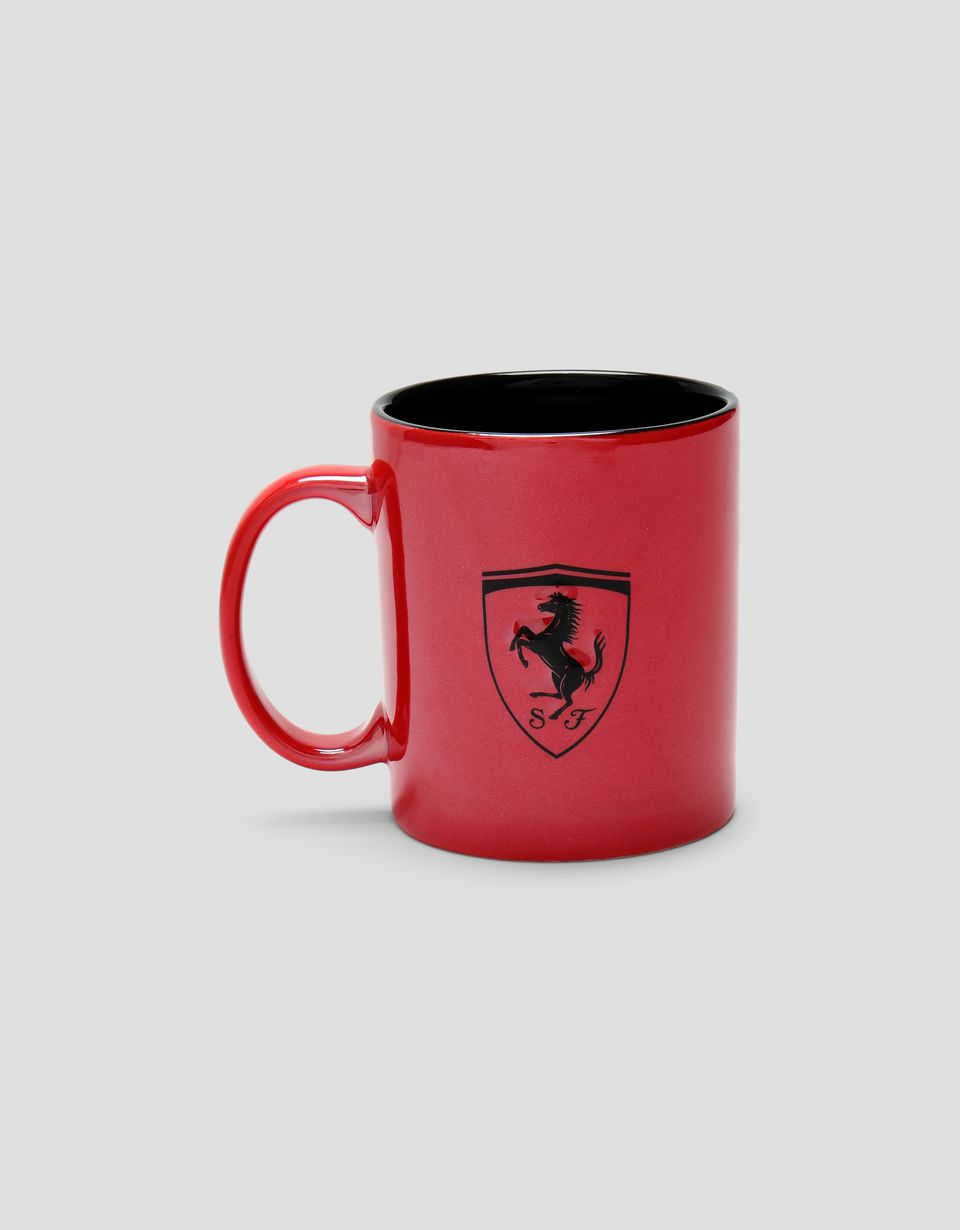 Scuderia Ferrari Online Store - Ceramic mug with Ferrari Shield and metallic finish - Mugs & Cups
