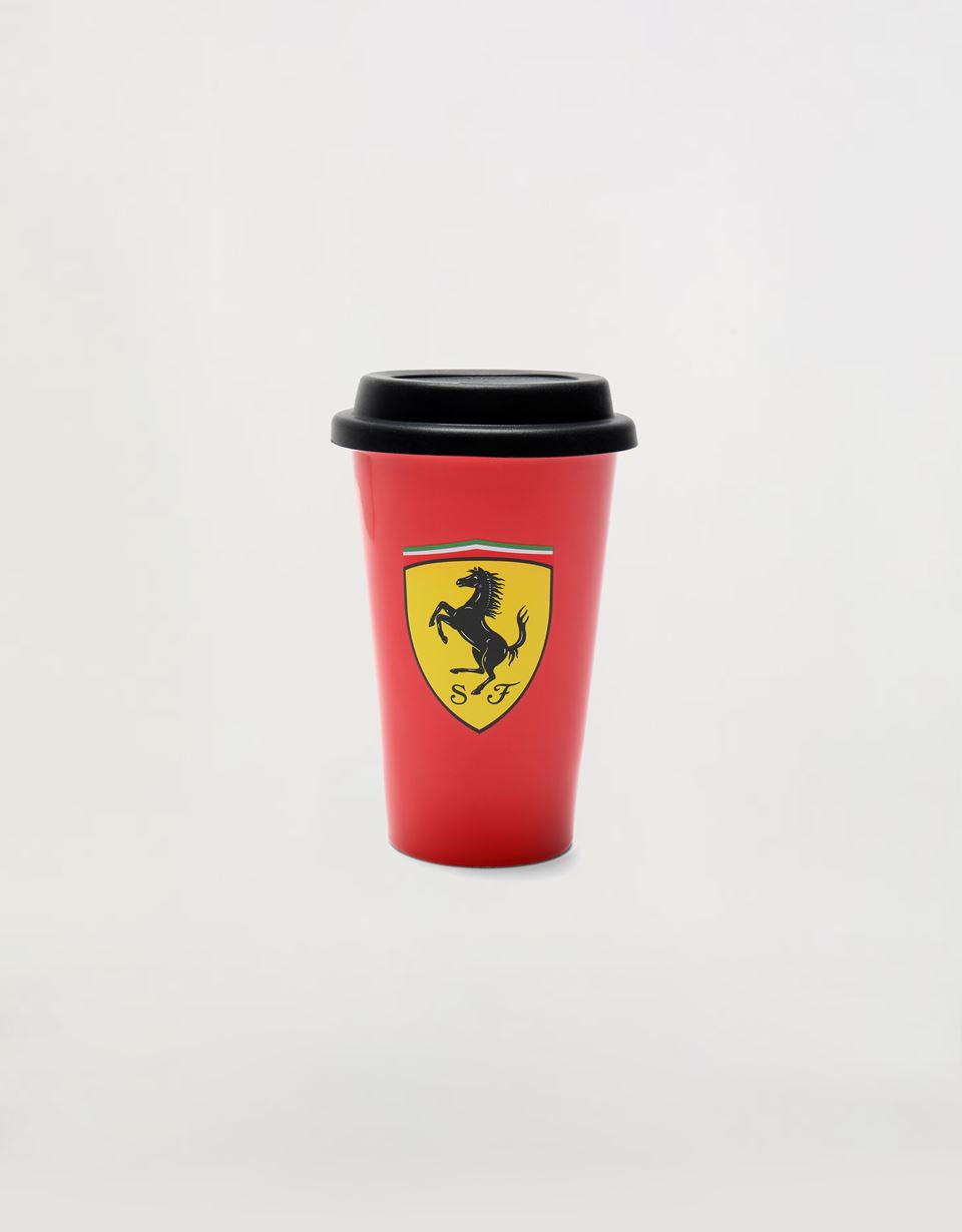 Scuderia Ferrari Online Store - Double-layered porcelain mug with silicone lid, 240 ml - Mugs & Cups