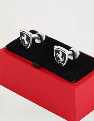 Scuderia Ferrari Online Store - Men's cufflinks with black Ferrari Shield - Cufflinks