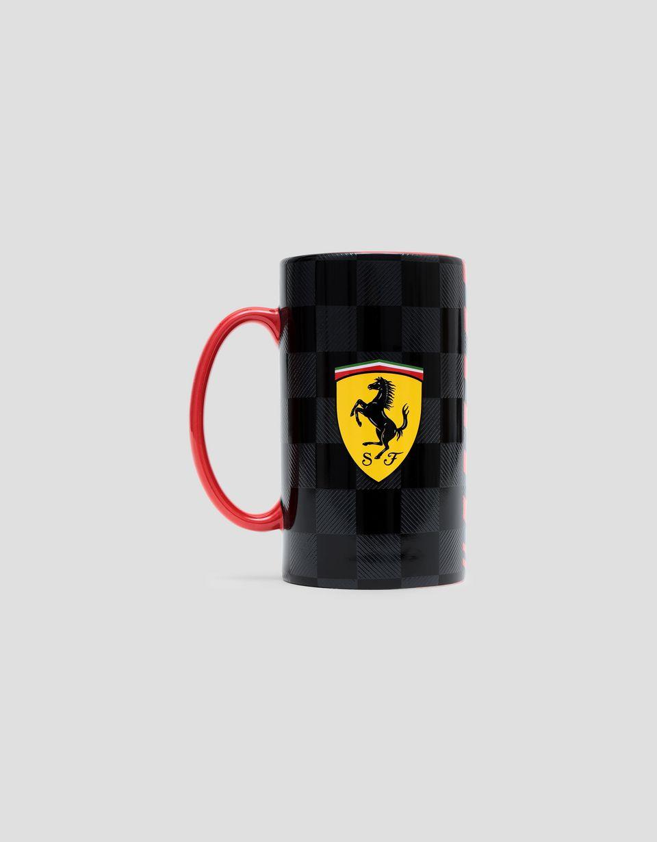 Scuderia Ferrari Online Store - Tall Scuderia Ferrari mug with checker print - Mugs & Cups
