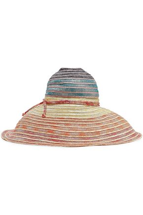 MISSONI Metallic crochet-knit and woven straw sunhat