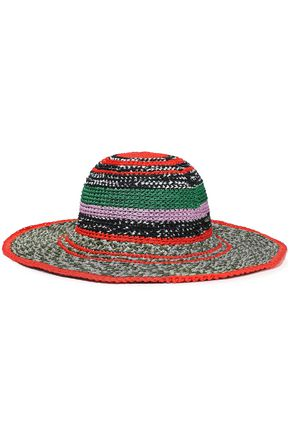 MISSONI Striped metallic crochet-knit sunhat