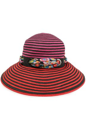 MISSONI MARE Embellished striped raffia sun hat