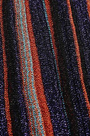 MISSONI Fringed metallic striped crochet-knit scarf