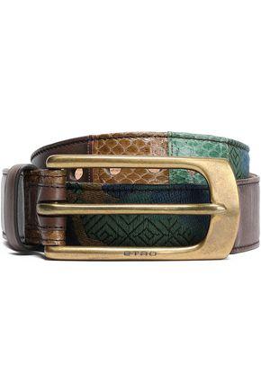 ETRO Paneled jacquard, leather and elaphe belt