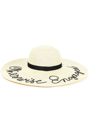 EUGENIA KIM Bunny embroidered straw sunhat