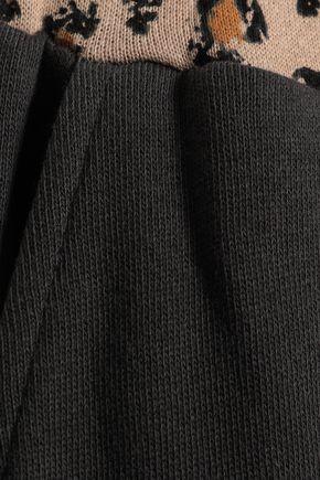 KAIN Leopard print-trimmed cotton-fleece track pants