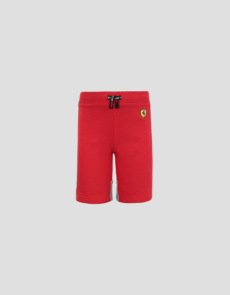 Scuderia Ferrari Online Store - Children's French terry shorts with Icon Tape - Shorts