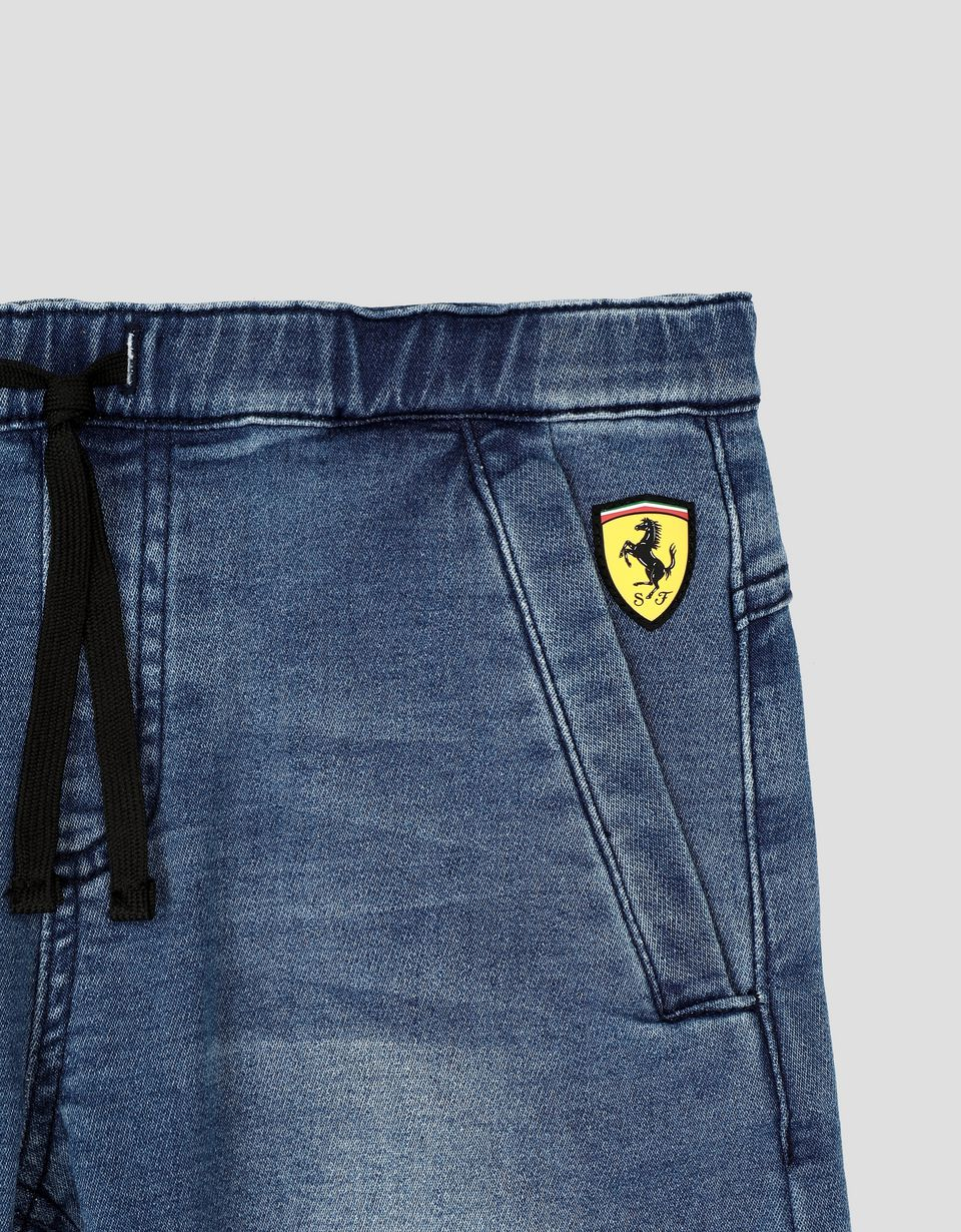 Scuderia Ferrari Online Store - Boys' trousers in denim-effect fleece - Jeans