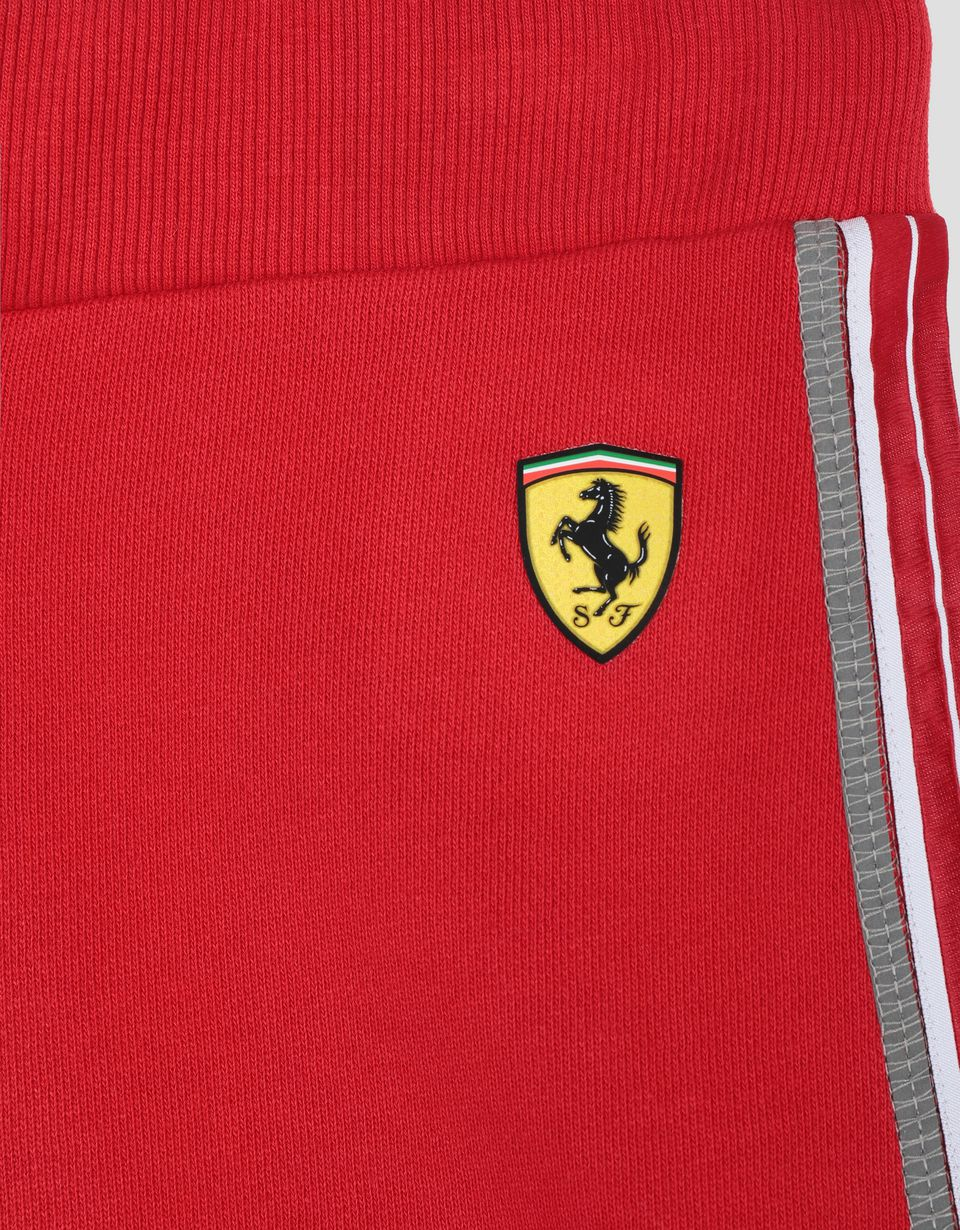 Scuderia Ferrari Online Store - Boy's shorts in French Terry with Icon Tape - Shorts