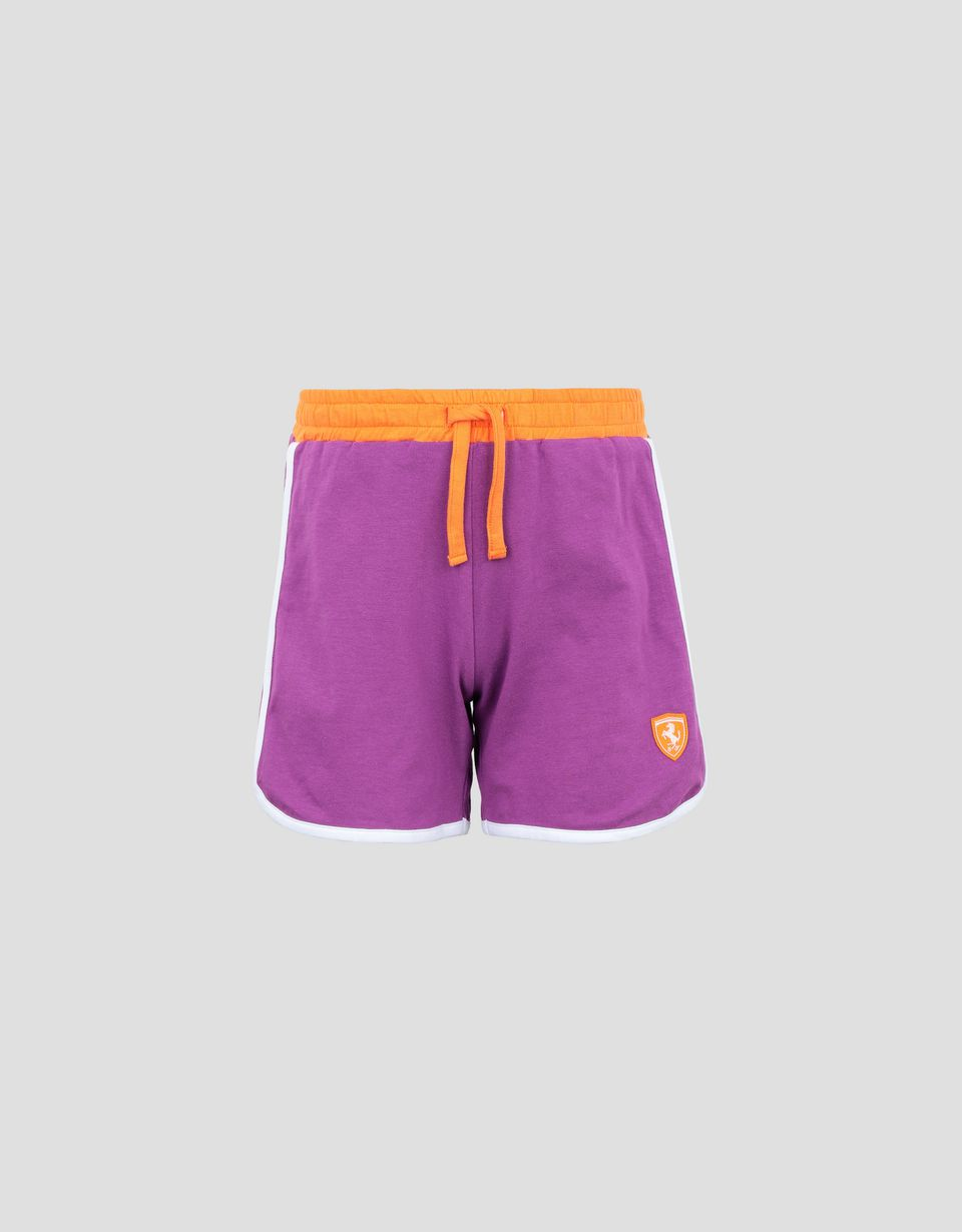Scuderia Ferrari Online Store - Girl's shorts in jersey with contrasting piping - Shorts