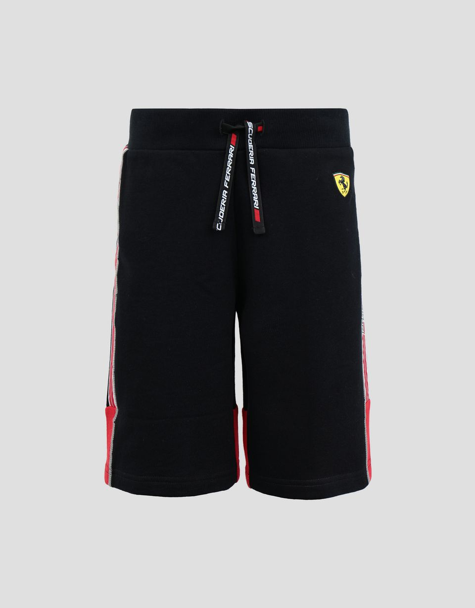 Scuderia Ferrari Online Store - Boys' French terry shorts with Icon Tape - Shorts
