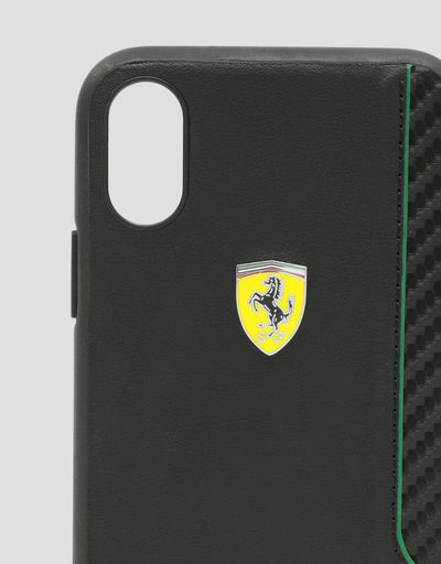 Scuderia Ferrari Online Store - Rigid case in black soft-touch rubber for the iPhone X and XS -