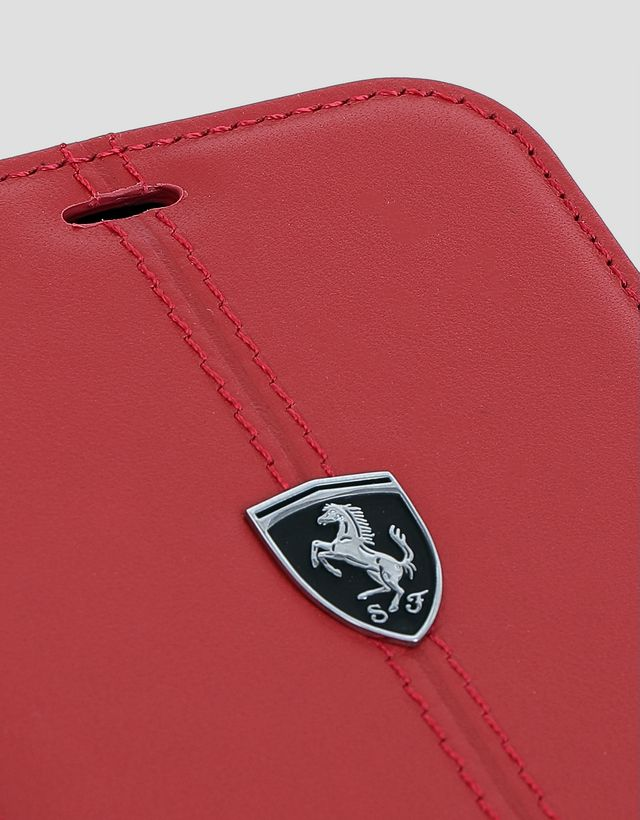 Scuderia Ferrari Online Store - Red leather wallet case for the iPhone XS Max - Smartphone Accessories