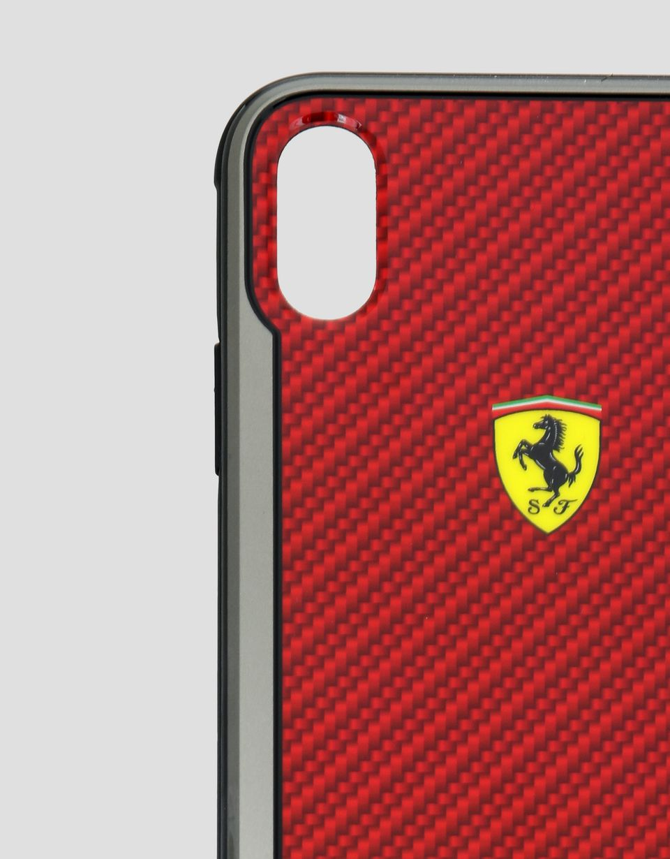 Scuderia Ferrari Online Store - Red carbon fibre effect hard case for iPhone XS Max - Smartphone Accessories