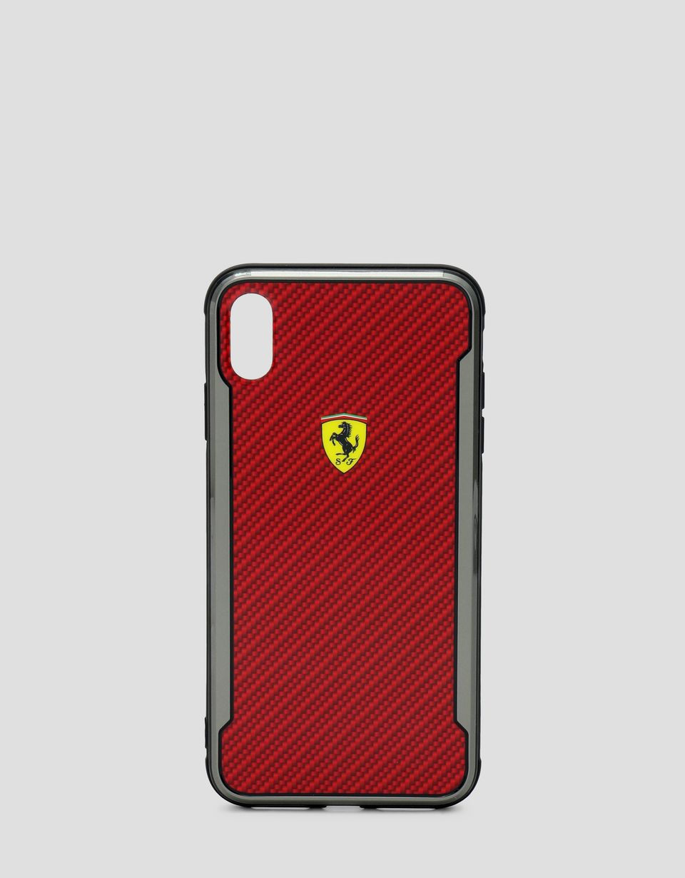Scuderia Ferrari Online Store - Red rigid carbon fiber effect case for the iPhone XS Max - Smartphone Accessories
