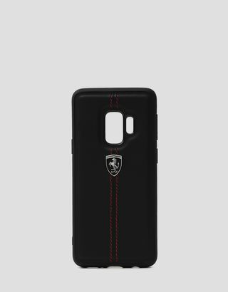 Scuderia Ferrari Online Store - Black leather hard case for Samsung Galaxy S9 - Smartphone Accessories