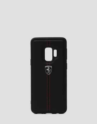 Black rigid leather case for the Samsung Galaxy S9