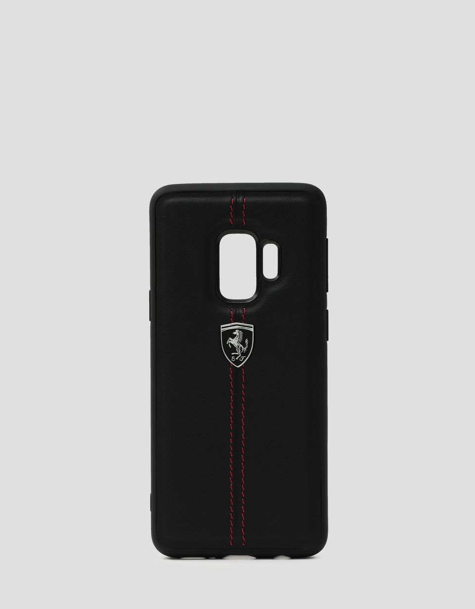 Scuderia Ferrari Online Store - Black rigid leather case for the Samsung Galaxy S9 - Smartphone Accessories