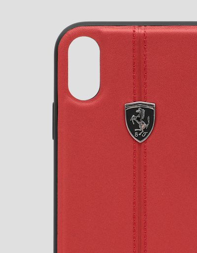 Scuderia Ferrari Online Store - Red rigid leather case for the iPhone XR - Smartphone Accessories