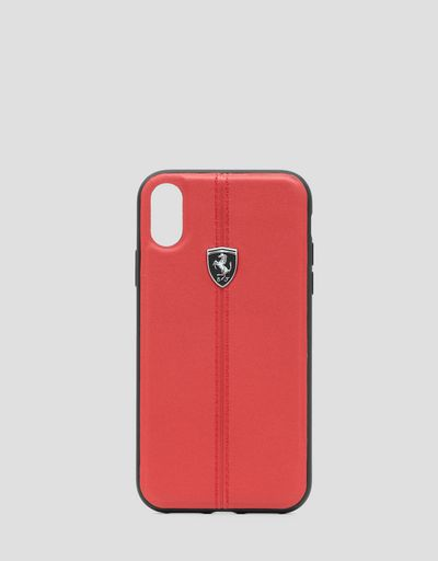 Red leather hard case for iPhone XR