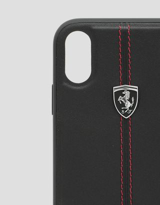 Scuderia Ferrari Online Store - Black rigid leather case for the iPhone XR - Smartphone Accessories