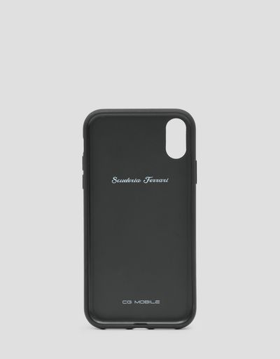 Black leather hard case for iPhone XR