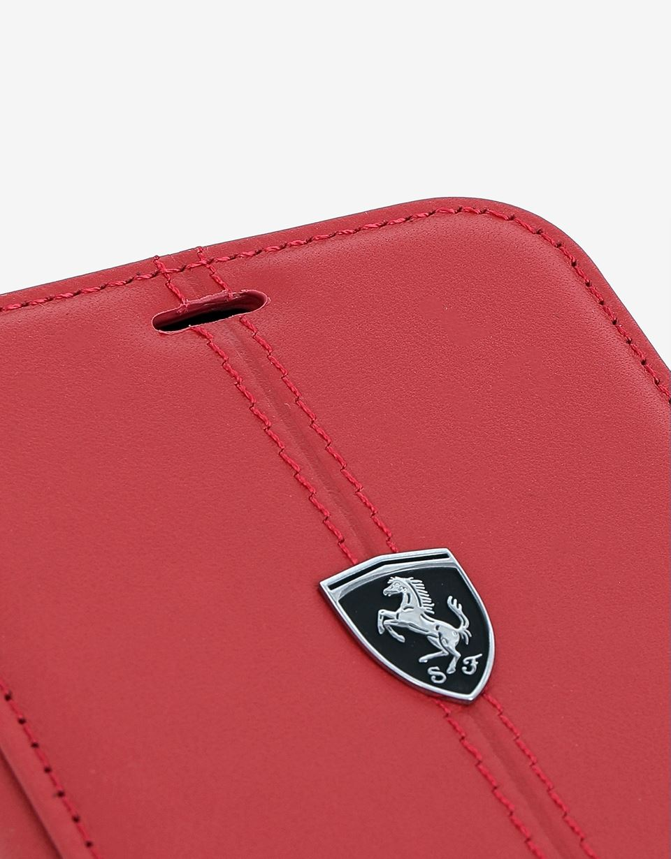 Scuderia Ferrari Online Store - Red leather flip case for iPhone 8 - Smartphone Accessories