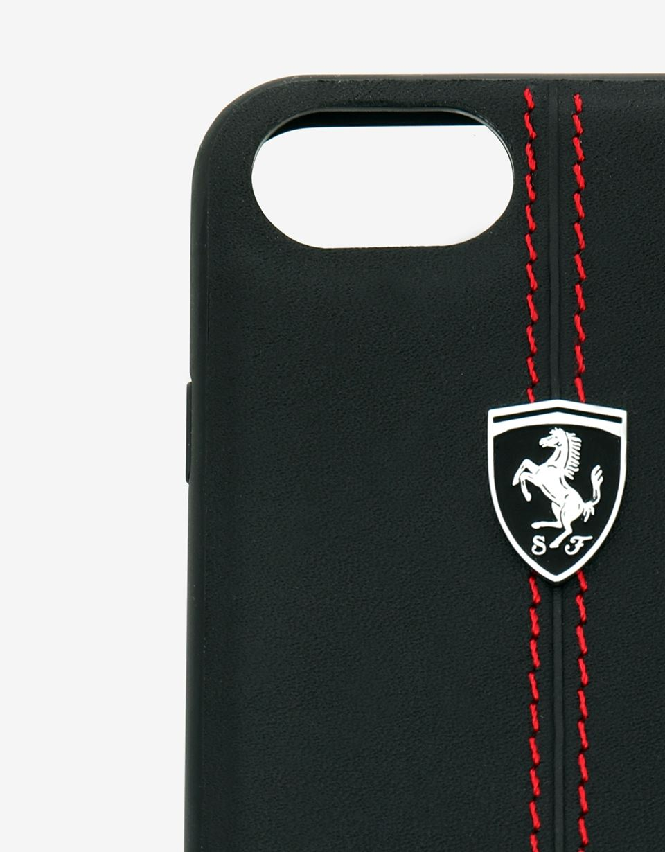 Scuderia Ferrari Online Store - Black rigid leather case for the iPhone 8 -