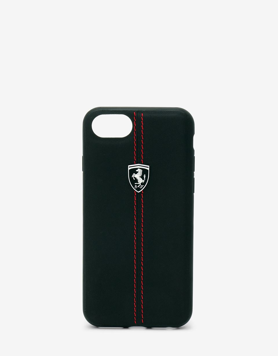 Scuderia Ferrari Online Store - Black rigid leather case for the iPhone 8 - Smartphone Accessories