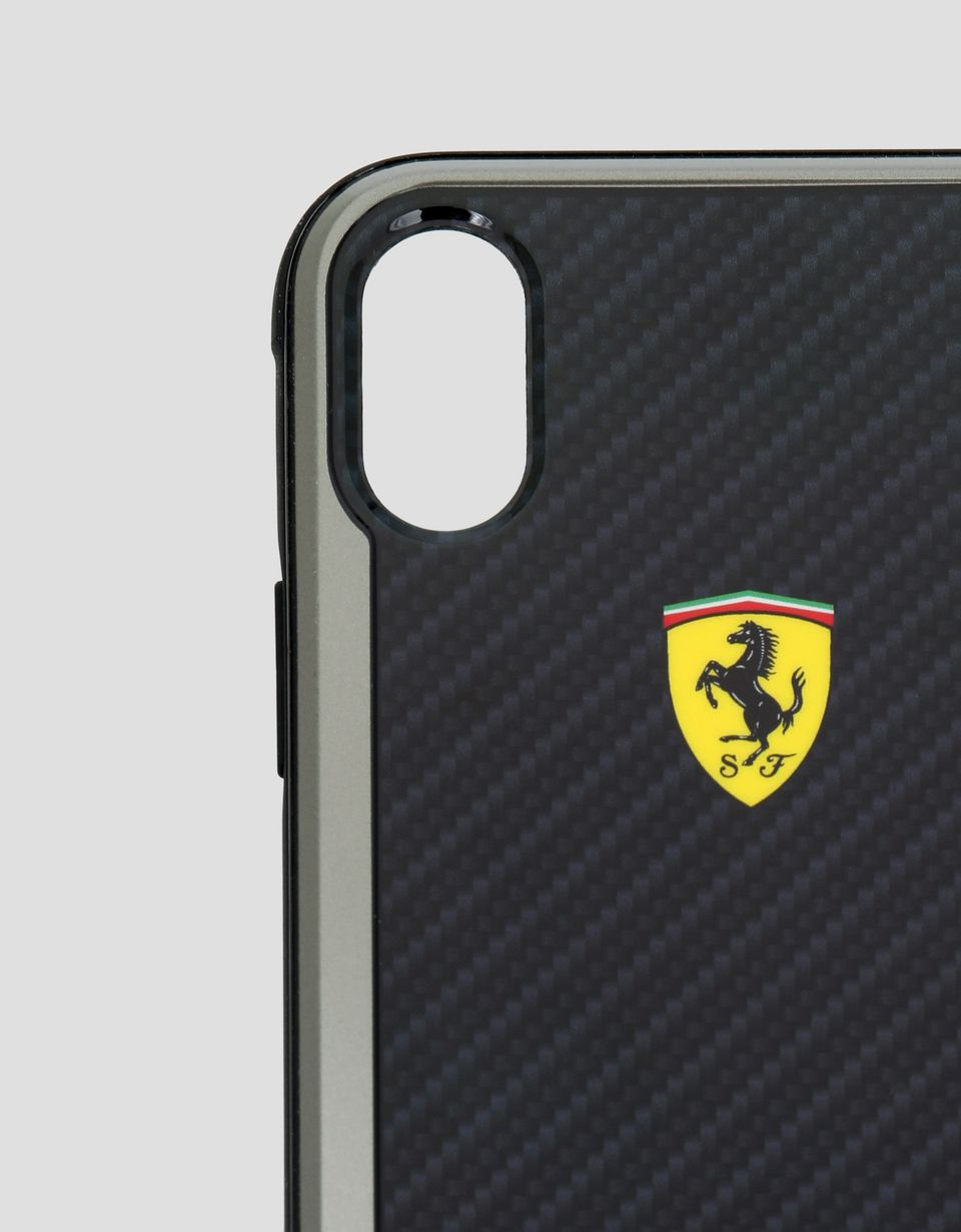 Scuderia Ferrari Online Store - Black carbon fibre effect hard case for iPhone X and XS - Smartphone Accessories