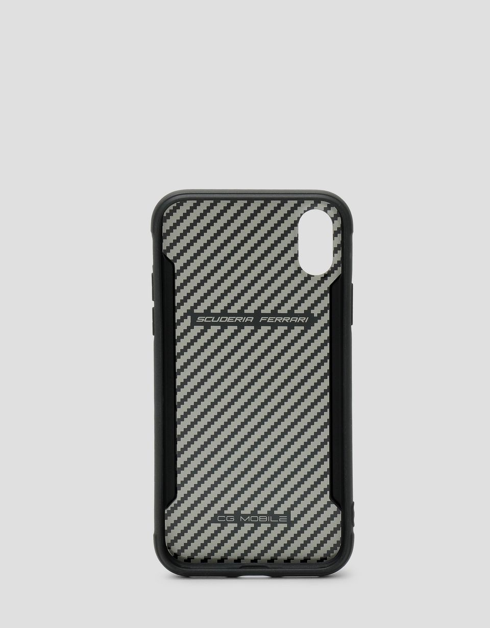 Scuderia Ferrari Online Store - Black rigid carbon fiber effect case for the iPhone X and XS - Smartphone Accessories