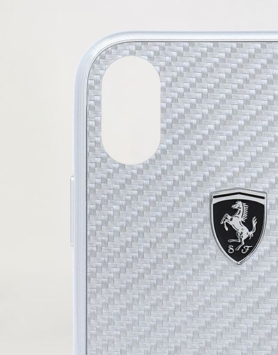 Scuderia Ferrari Online Store - Silver rigid carbon fiber case for the iPhone XR - Smartphone Accessories