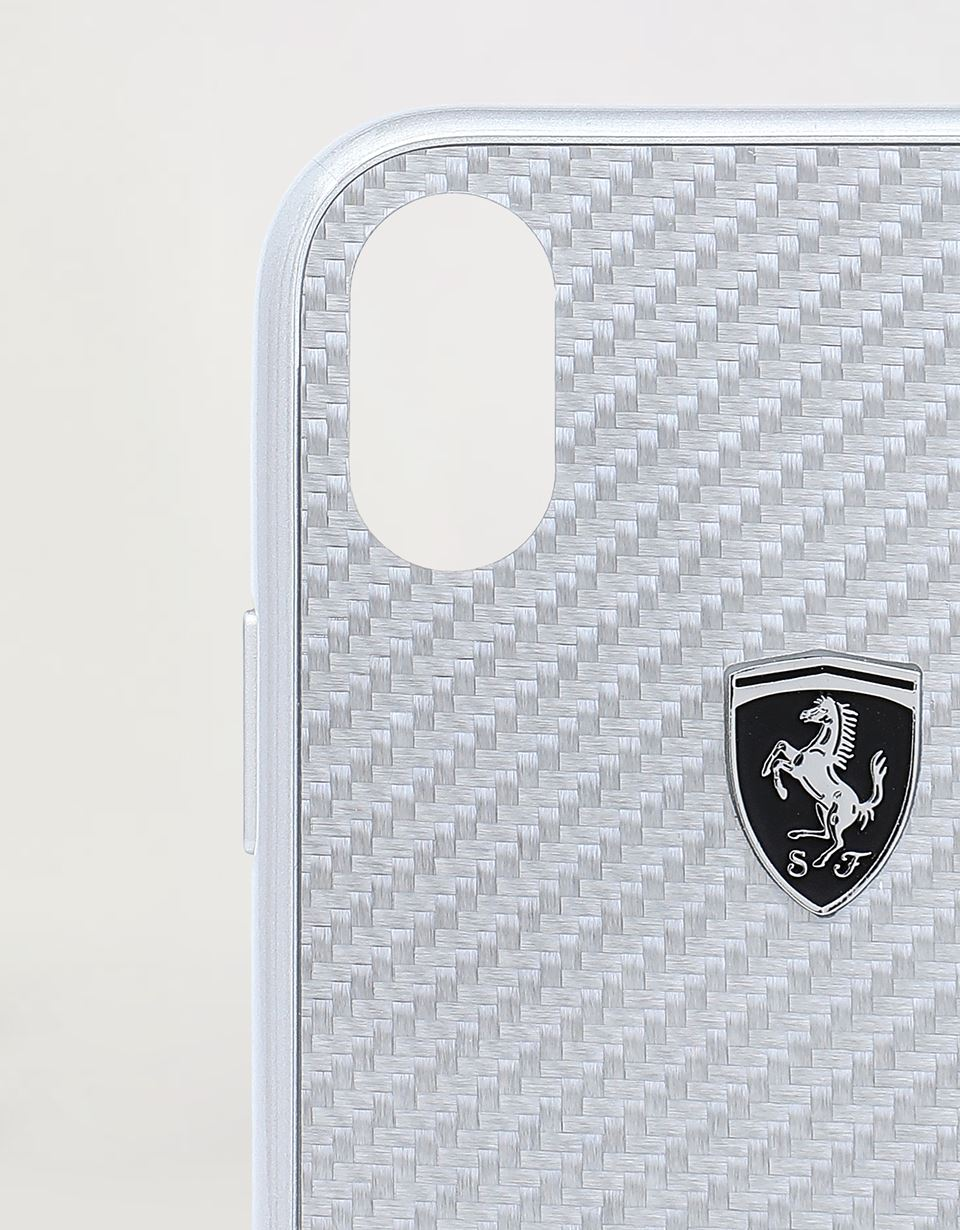 Scuderia Ferrari Online Store - Genuine silver carbon fibre hard cover for iPhone XR -
