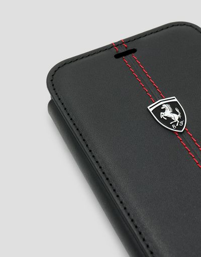 Scuderia Ferrari Online Store - Black leather flip case for iPhone XR - Smartphone Accessories