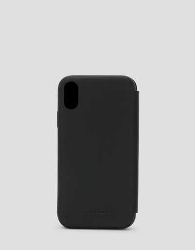 Black leather flip case for iPhone XR