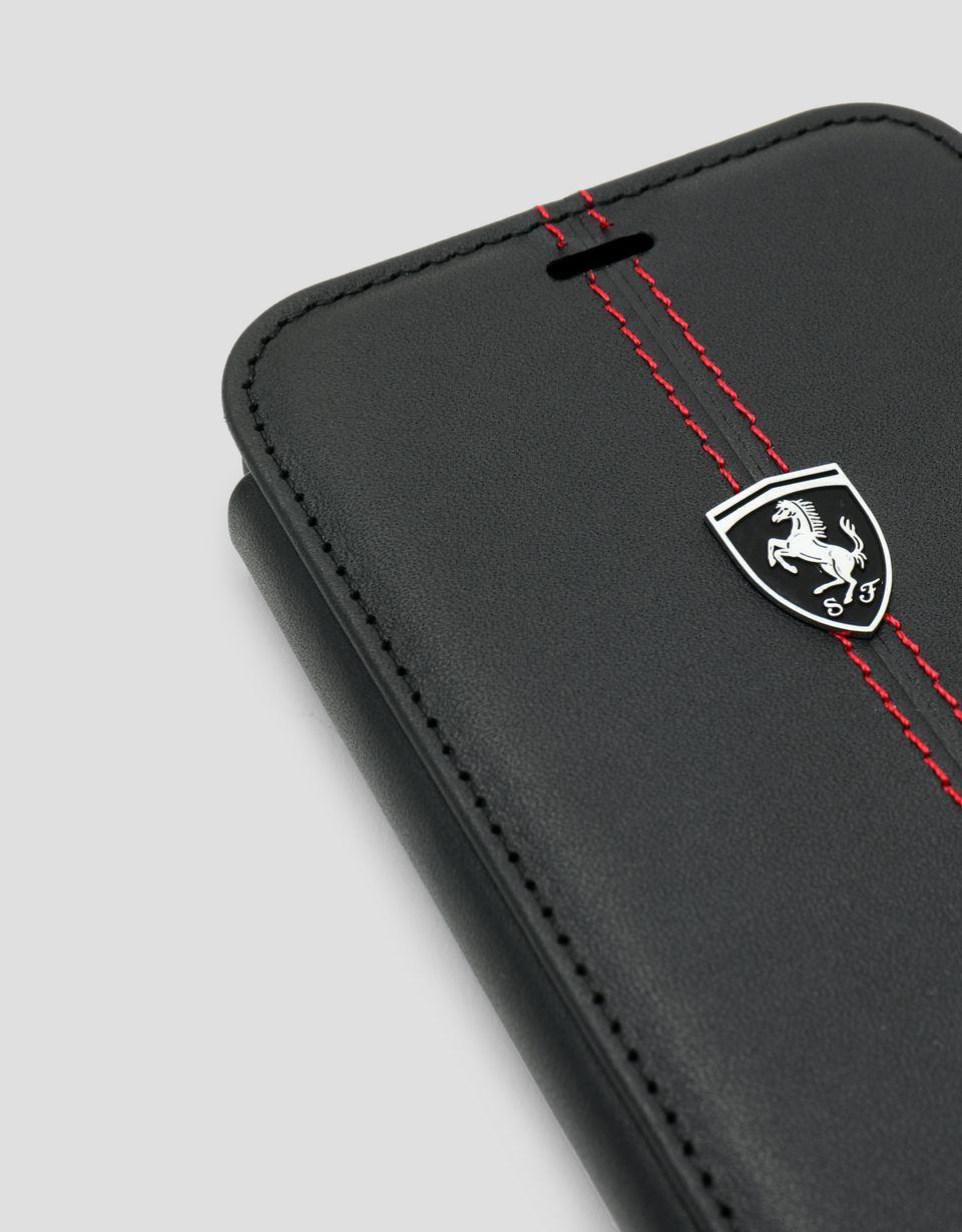 Scuderia Ferrari Online Store - Black leather wallet case for the iPhone XR - Smartphone Accessories