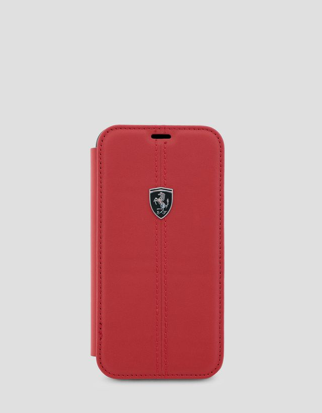 Scuderia Ferrari Online Store - Red leather flip case for iPhone X and XS - Smartphone Accessories