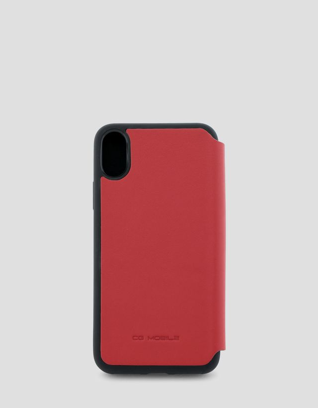 Scuderia Ferrari Online Store - Red leather wallet case for the iPhone X and XS - Smartphone Accessories