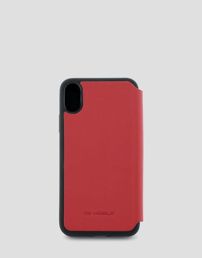 Red leather flip case for iPhone X and XS