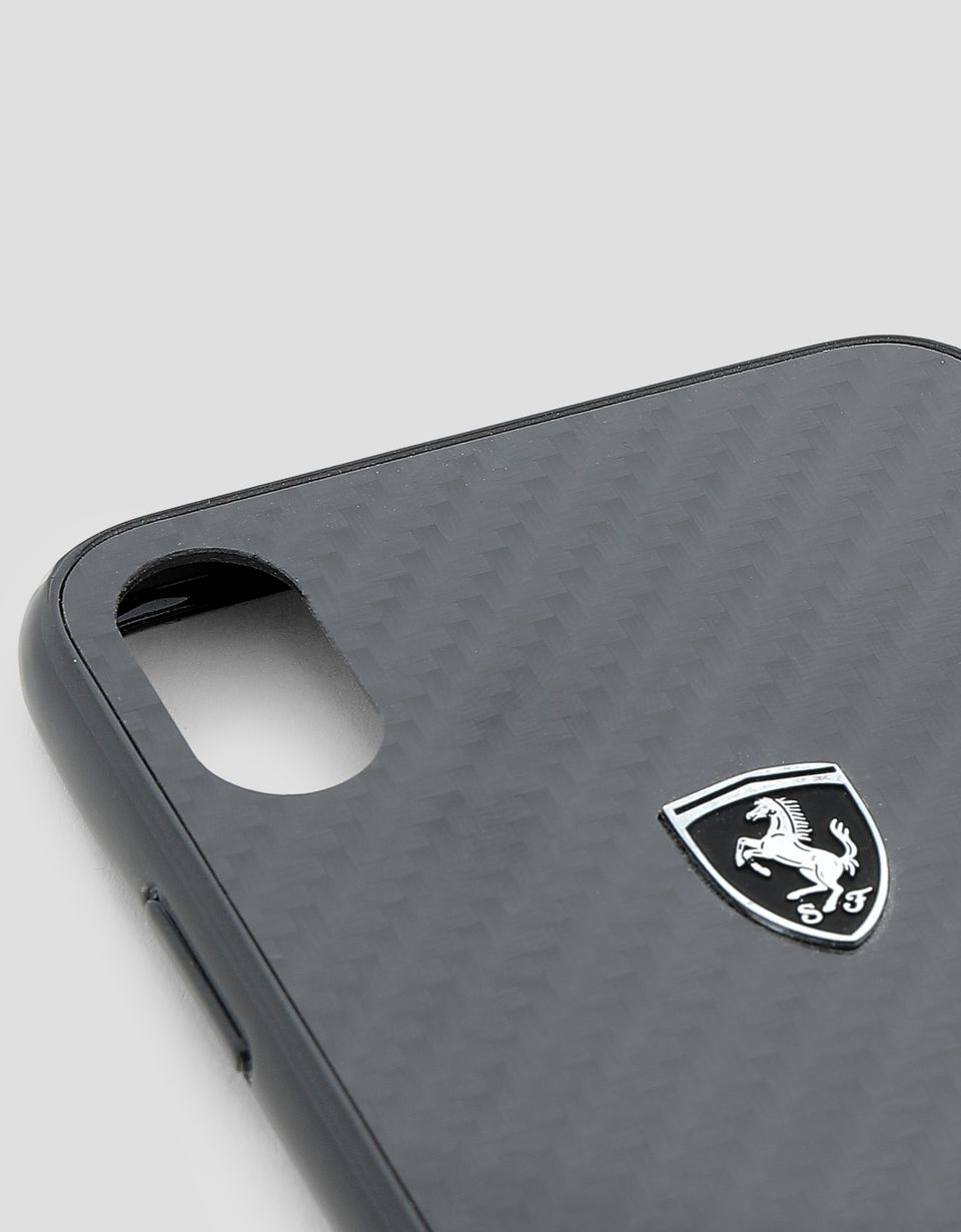 Scuderia Ferrari Online Store - Black rigid carbon fiber case for the iPhone XS Max - Smartphone Accessories