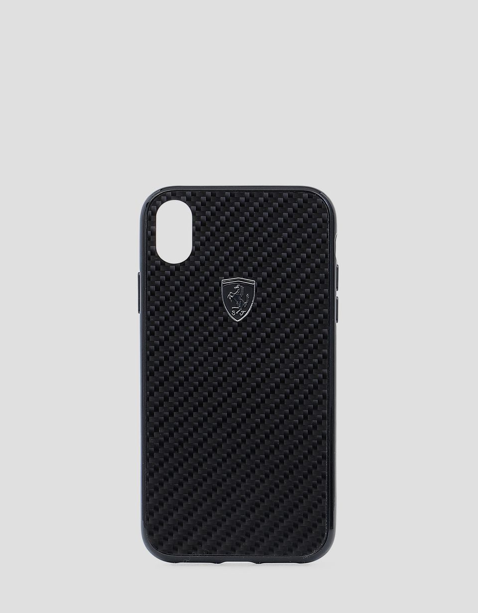Scuderia Ferrari Online Store - Genuine black carbon fibre cover for iPhone XR - Smartphone Accessories