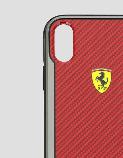 Scuderia Ferrari Online Store - Red carbon fibre effect hard case for iPhone XR - Smartphone Accessories