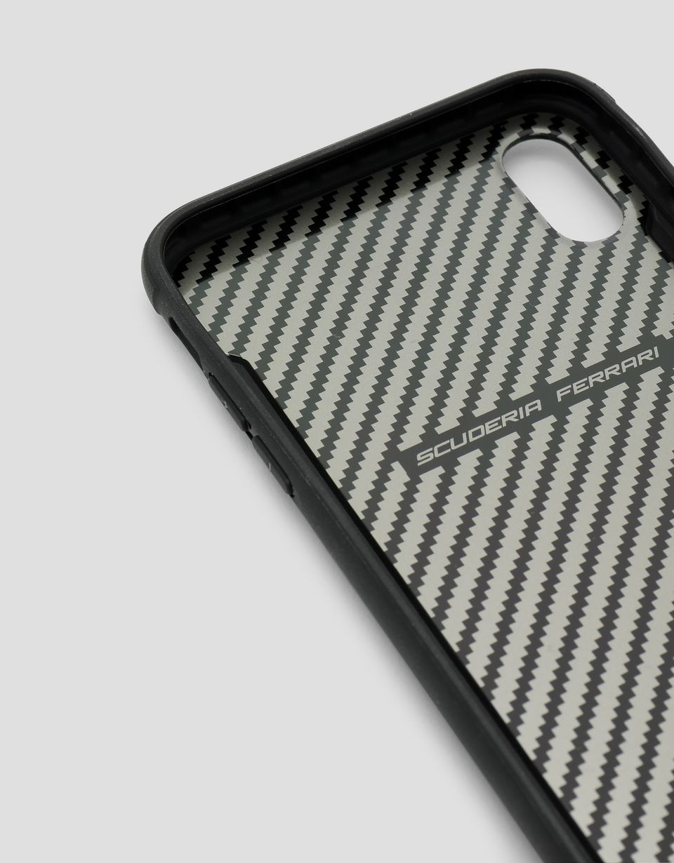 Scuderia Ferrari Online Store - Black carbon fibre effect hard case for iPhone XS Max - Smartphone Accessories